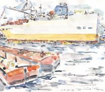 containerschiff-und-schuten-auf-der-elbe-a1203hh-48x36-cm