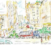 Baufahrzeuge in der City b0605hc65-1k 40x30cm