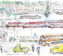 Alster mit Bussen b0612hc4 40x30cm