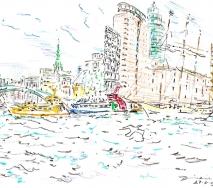 Blick in den Hafen von anderer Elbseite b0904hh82 40x30cm