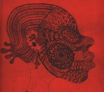 frau-mit-maske-rot-schwarz-r6800s-40x50cm